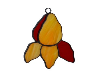 Stained Glass Flower Ornament in orange and tr red colors, Stained Glass Iris Suncatcher D1, Window Decoration or Wall Decor