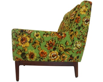 Mid-Century Arm Chair by W.H. Gunlocke, Vintage 1950s - Tapered lines - Floral Arm Chair  - Original Excellent Condition - Lime Green