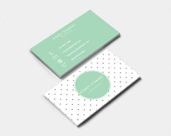 Editable & Printable business card template- DOTS, feminine business card, fun business card, DIY business card,