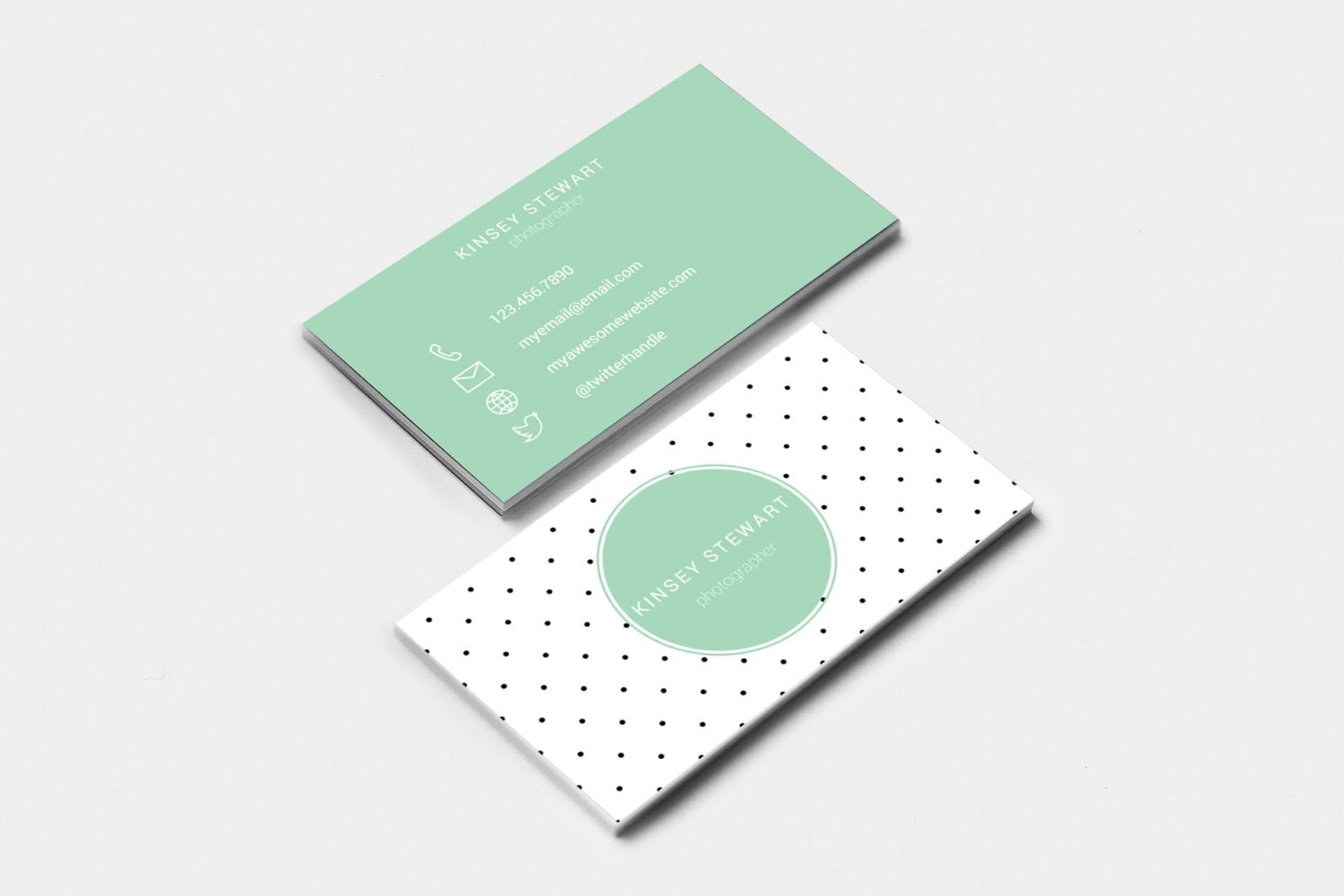 Editable & Printable Business Card Template DOTS Feminine