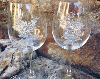 Painted glass goblets.