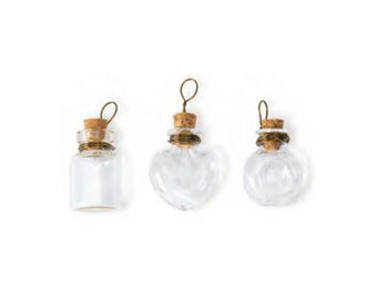 """Set of 3 Tiny 1"""" Glass Vial Pendants with Cork Stoppers and Copper Wire Loops; Tiny Glass Bottles"""