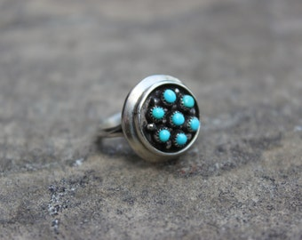 RESERVED Sterling and Turquoise Zuni Snake Eye Ring