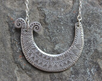 Sterling Hmong Tribal Necklace with Etched Design