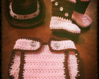 Handmade crocheted cowgirl outfit