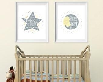 Children's wall art. Nursery Decor. Star & moon typographic set Twinkle Twinkle little star. Sweet dreams INSTANT DOWNLOAD by Motif Visuals