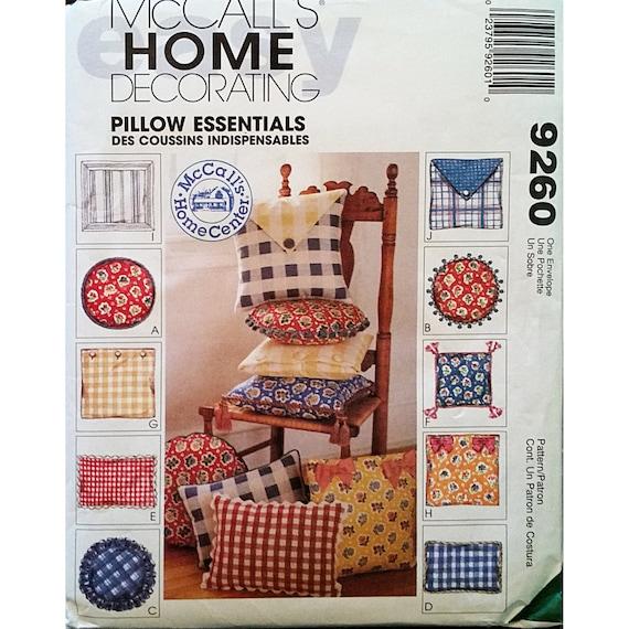 Home Decor Patterns: Pillow Essentials McCalls 9260 Pattern 1998 Home Decor Sewing