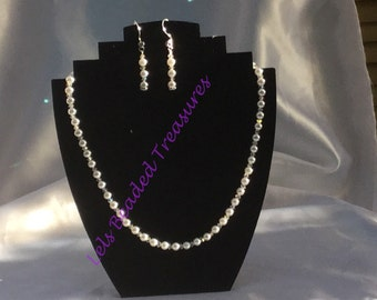 Glass pearl and Swarovski Crystal Necklace and Earrings Set