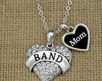 Band Mom Rhinestone Heart Charm Necklace