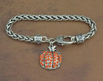 Pumpkin Rhinestone Charm Bracelet Fall Thanksgiving Jewelry