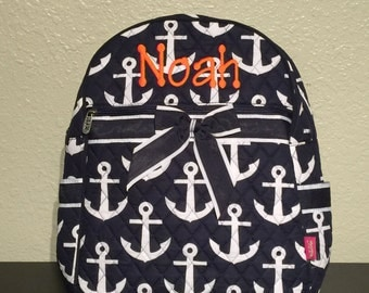 Anchor Print Nautical Monogrammed Quilted Backpack Navy Blue and White