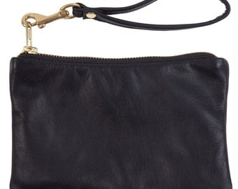 Black Leather Wristlet Women Zipper Clutch
