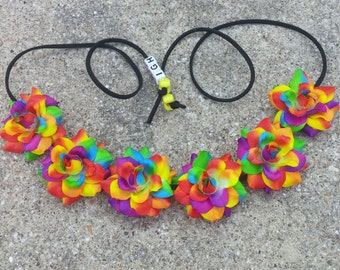 Rainbow Flower Halo/ Flower Headband/ Crown/ Halo