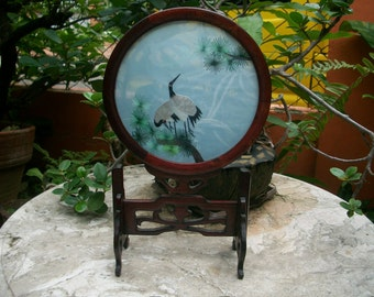 "1920s Vintage China Two Sided Suzhou Silk Embroidery ""Cranes"" Tabletop Screen With Hand Carved Wooden Stand"