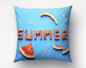 Summer Decor Art Pillow, Food Photography, Watermelon Letters, Restaurant Decor, Cool Pillow