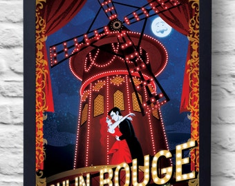 Moulin Rouge-Movie Poster Print, film illustration, art, painting, gift