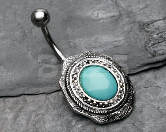 Vintage Frame Turquoise Belly Button Ring