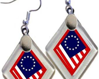 "Earrings & Donation ""US Original Flags"" ~Lightening landfills one tiny glass diamond at a time!"