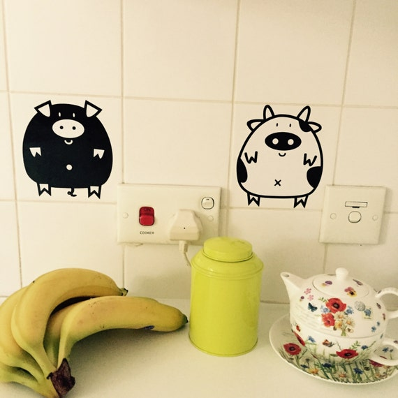 Items similar to cow pig hedgehog sheep sticker animal Pig kitchen decor