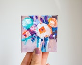 Flower Tiny Painting, Original Flower Painting, Floral Tiny Canvas, Original Small Painting, Flower Wall Art, Nursery Art, Floral Wall Decor