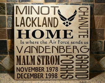 Military Gift, Home is where the Military sends us, Going Away Gift, Military Gift, Military Bases Sign, Military Home Sign