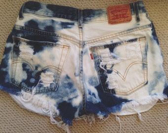 Acid Washed High Waisted Shorts
