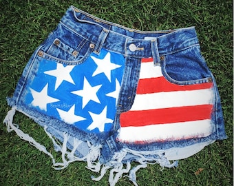 American Flag Hand Painted High Waisted Shorts