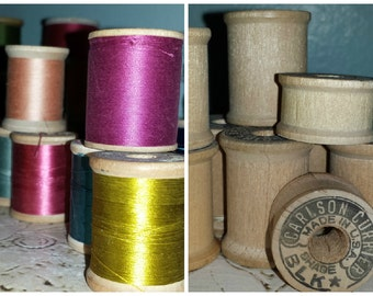 Wooden Spools with Colorful Thread