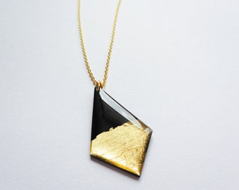 bold necklace vinyl record necklace black and gold necklace recycled jewelry geometric pendant necklace large pendant gold jewelry for her