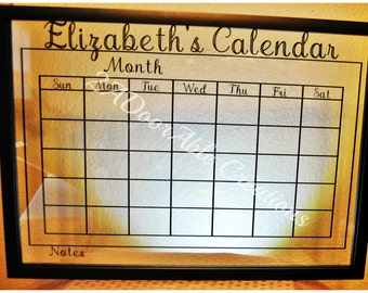 Personalized Calendar 14x20 in floating frame