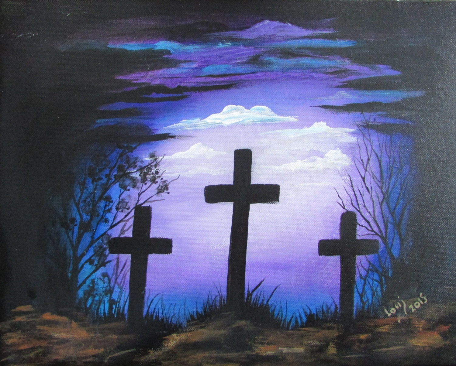 Cross painting holy crosses purple 11 x 14 acrylic on for Cross paintings on canvas
