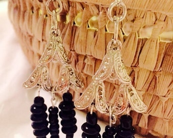 Silver and black pyramid earrings