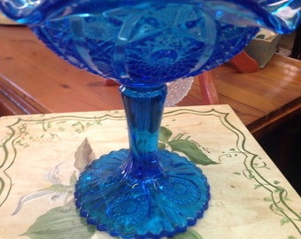 "Imperial Glass  ""Hobstar and Arches"" Cobalt Blue Compote"