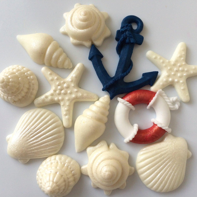 Anchor Lifebuoy Shells Edible Sugar Paste Cake Decorations