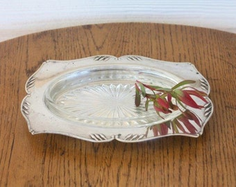 SALE - Silver Plate Butter Dish with Glass Insert ~ Tarnished Vintage Crusader Plate EPNS A1 ~ Wedding High Tea