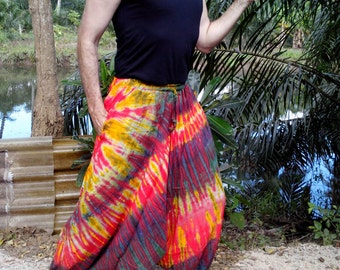 Mens Handmade Tie Dye Harem Pants. Baggy Pants. With Pockets. Red