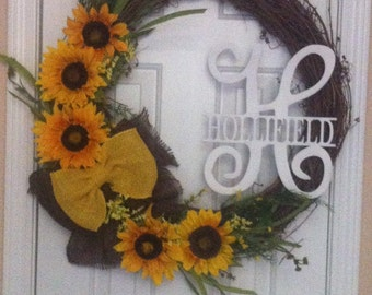 """Sunflower grapevine wreath 24"""" with greenery, initial/name of choice"""