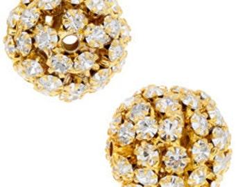 16mm Beadelle Gold Crystal Rhinestone Balls (1 piece)