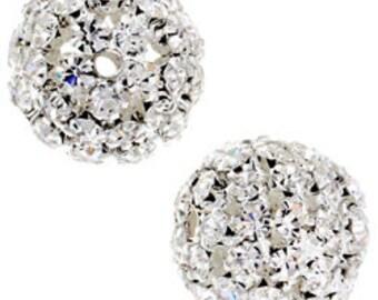 16mm Beadelle Silver Crystal Rhinestone Balls (1 piece)