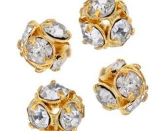 4mm Beadelle Gold Crystal Rhinestone Balls (12 pcs)
