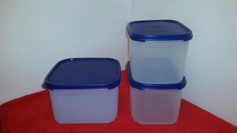 jahrgang tupperware modulare kumpels quadratisch mit blauen. Black Bedroom Furniture Sets. Home Design Ideas