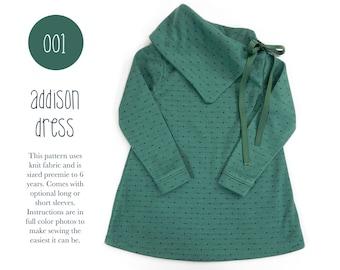 001 Addison Long Sleeve Cowl Dress PDF Sewing Pattern Kid Baby Knit Little Girls Preemie- 6T Ribbon Tie Sadi & Sam (Spit Up and Stilettos)