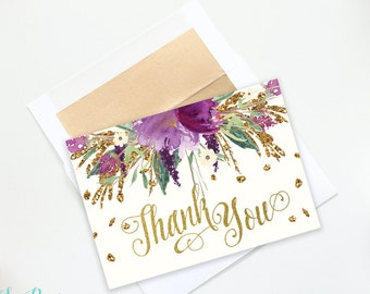 Iris Printable Thank You Cards: Purple, Lavender Floral & Gold Glitter Gold Foil - Folded and Flat INSTANT DOWNLOAD