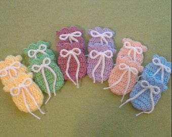 Crochet Baby Mittens, Handmade Non Scratching Mittens