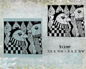 Rubber stamp 2 birds in zentangle on woodblock or ez-mount
