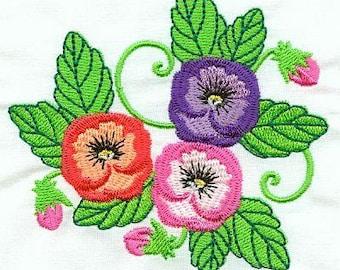 Beautiful Pansies - INSTANT DOWNLOAD - Machine Embroidery - 4x4 hoop