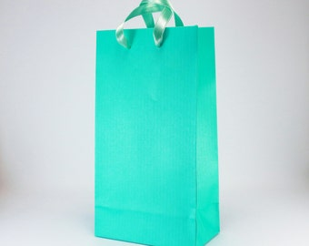 50 Small Turquoise Gift Bags -  Turquoise Paper Favor Bags w/ satin ribbon handles - Bridal Shower Party Birthday Gift Bags