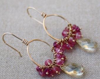 Lemon Quartz and Pink Gemstone 14K Gold Filled Earrings - Lemon Quartz and Pink Gemstone Cluster Hoop Earrings