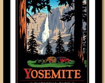Yosemite National Park Print, Yosemite Falls. Framed 16x20 Giclee print.