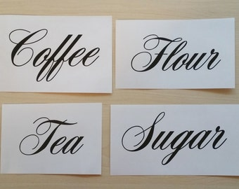 Set of Canister decals, Flour, Sugar, Coffee , Tea, Kitchen decal
